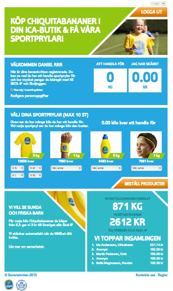 Kampanj Chiquita, Skolidrottsforbundet, ICA