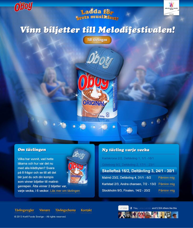 Oboy, Melodifestivalen, tävling